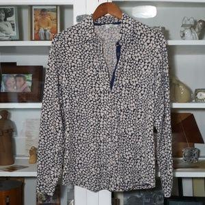 Boden Cotton Jersey Button Down Geo Heart Shirt 12